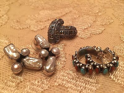 Lot Of Vtg  Sterling Silver 925 Jewelry Earrings. Marcasite Coral Turquoise Mop?