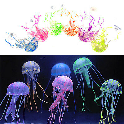 Bright Jellyfish Aquarium Fish Tank Decoration Rubber Suction Cup Floating Glows