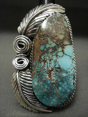 One Of The Tallest Vintage Navajo Spiderweb Turquoise Silver Leaf Ring