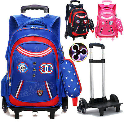 Children Draw-bar Backpack With 6 Wheels Kid's Waterproof Detachable Luggage New