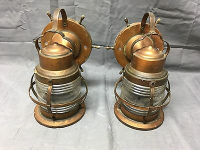Vtg Nautical Copper Porch Sconce Pair Cage Light Jelly Jar Globe Old 272-17E