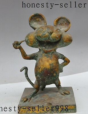 """11""""Old Chinese Bronze Disney Cartoon Character Lovely Mickey Mouse Art Statue"""