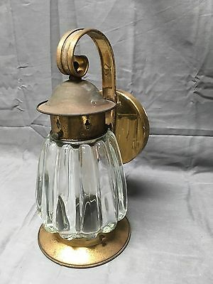 Vintage Brass Porch Sconce Thick Heavy Fluted Glass Globe Old Fixture 274-17E