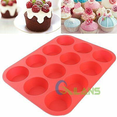12 Cups Silicone Nonstick Pan Muffin Shape Cupcake Tray Baking Cake Mould 【AU】