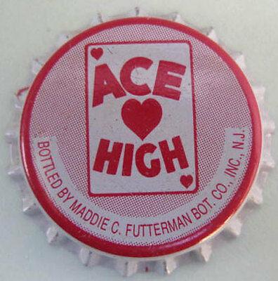 ACE HIGH unused Soda CROWN, Bottle CAP Maddie Futterman Bottling Co., NEW JERSEY