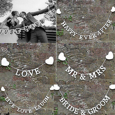 Cute Wedding Mr Mrs Just Married Hessian Burlap Bunting Banner Photo Props New