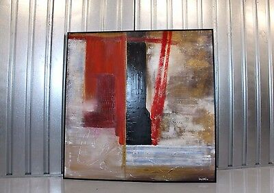 Vintage Retro Mid-Century Modernist Large Abstract Oil Painting On  Canvas