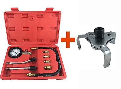 Toolrock Automotive Petrol Engine Compression Tester Kit and Oil Filter Wrench