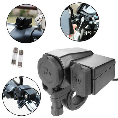 Motorcycle Waterproof 12V Cigarette Lighter USB Power Socket Charger For Phone