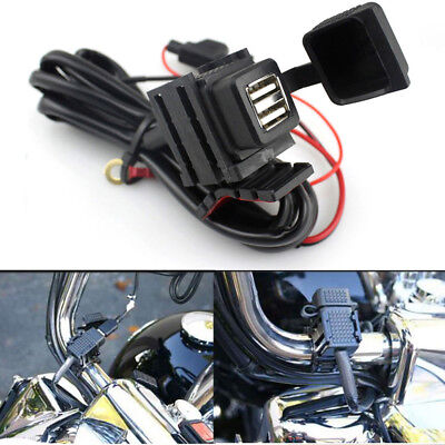 12/24V Waterproof Motorcycle Phone GPS Dual USB Power Supply Socket Charger UK