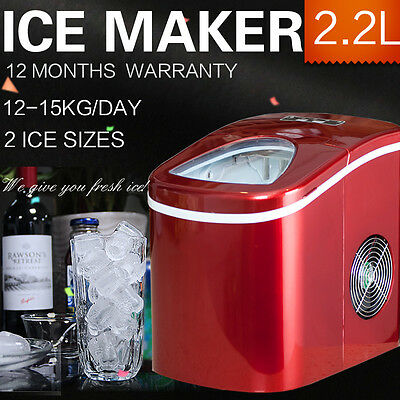 2.2L Ice Cube Maker Auto Fast Easy Benchtop Portable Freezer Machine Home Red