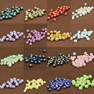 50-200Pcs China Ceramics String Loose Round Spacer Beads Jewelry Making Findings