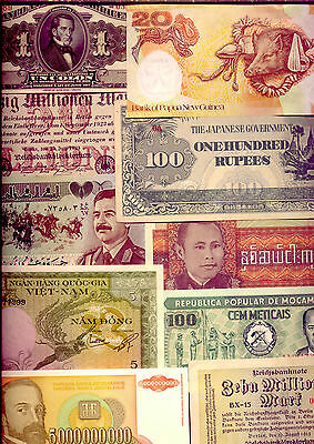 BANK-NOTES of the WORLD  (82)  VITUALLY UNC and HIGH VALUE  - GOING CHEAPLY