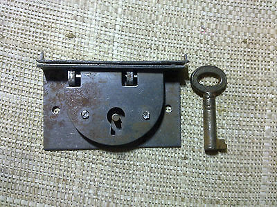 steel box lock with keep and key,48 mm, antique or vintage (BL5)