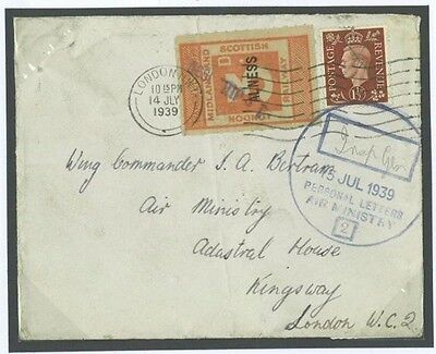 DBR223 1939 Alness Station Ross & Cromarty Railway Letter/Air Ministry Londo