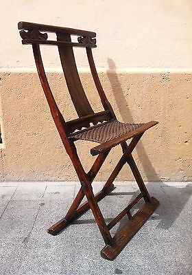 Antique Chinese Qing Dynasty Yoke-back wood folding chair, 1850s-1900s