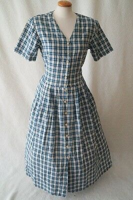 Vintage German victorian steampunk style blue checked dress Size 12