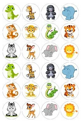 24 x Jungle Animals Edible Image Cupcake Toppers Pre-Cut