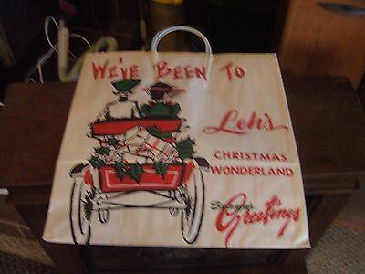 "VINTAGE LEH'S Department store Allentown pa Christmas Shopping bag 18"" x 19"""