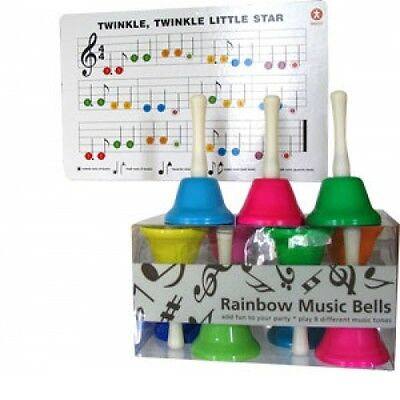 Set of 8 childrens musical COLOURED HAND BELLS  - sensory learning & group play