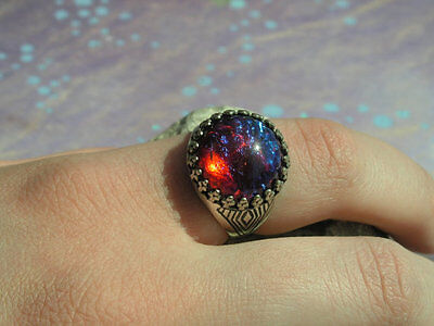 Crowned Fire Opal Dragon's Breath Ring Adjusts Unisex design Sale size 7 to 14