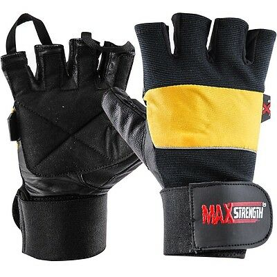 Gel Pro Weight Lifting Body Building Gloves Gym Straps Fitness Training Wraps