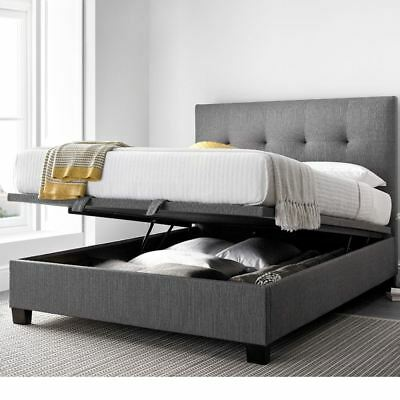 Yorkie Grey Fabric Ottoman Storage Bed in Double, King or Super King Size