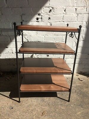 Longaberger Wrought Iron Modular Side/End Table w 4 Rich Brown Woodcraft shelves