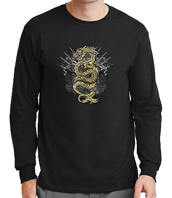 1238C Gold Dragon Adult/'s T-shirt Asian Tradition Tee for Men