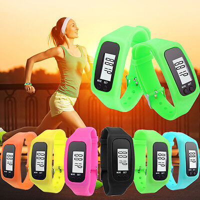 LCD PEDOMETER WRIST WATCH new SPORT CALORIE STEP WALKING COUNTER FITNESS  W23