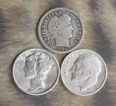 1907-O, 1945S, 1953. 3 Type Dimes. VG-AU. 90% Silver. Additional coins ship FREE