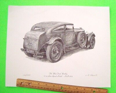 """Gorgeous HAND SIGNED & #'d """"THE BLUE TRAIN BENTLEY"""" LITHO by L.R. DANIELS Xlnt"""