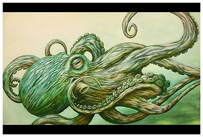 Octopus Jon Hoffman Green Ocean Sea Nautical Tattoo Black Market Fine Art Print