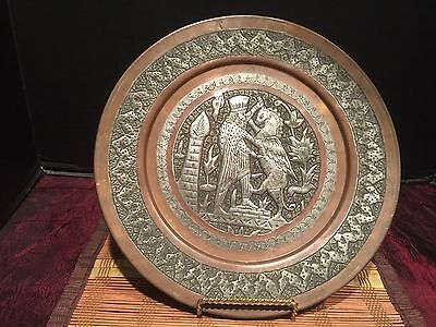 Vintage Hand-Etched Silver Tone Copper Decorative Wall Plate Persian Farvahar