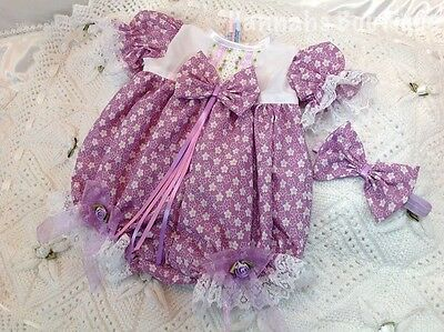 Hannahs Boutique 0-3 Month Baby Romper/bubble & Headband Set Or Reborn 20-24""