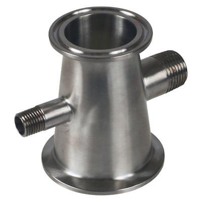 Concentric Reducer | Tri Clamp/Clover 1.5 (1 1/2) inch x 2 w/ 1/4 & 1/2 MNPTs