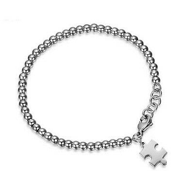 Puzzle Piece Autism Awareness Beaded Stainless Steel Charm Wristband Bracelet