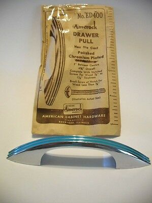 Vintage NOS CHROME Heavy DRAWER Pull TURQUOISE Lines Cabinet Door Handle Amerock