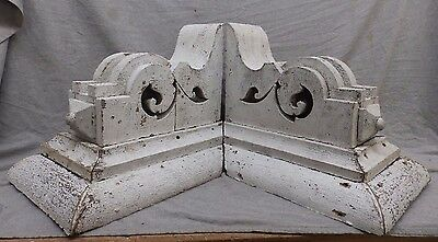 Large Antique Pair Wood Corbels Shabby Cottage Chic Vintage 475-17R