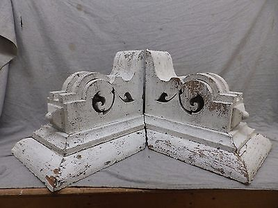 Large Antique Pair Wood Corbels Shabby Cottage Chic Vintage 477-17R