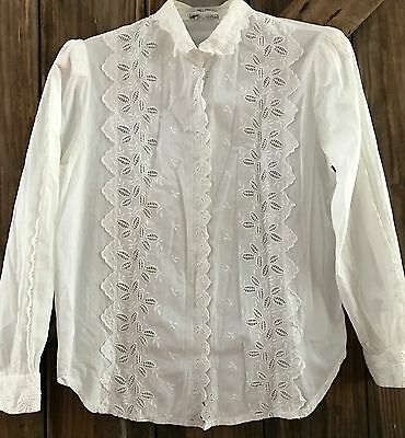 Vintage Victory Town Blouse Shirt White Batenburg Lace Cotton top Med/Large