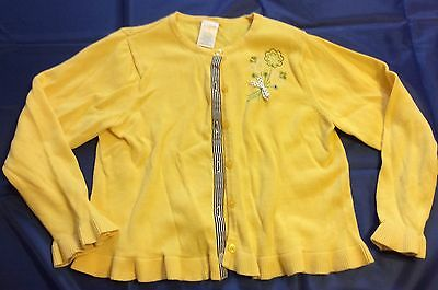 Girls Gymboree Size 6 Yellow Cardigan Sweater Embroidered Flowers ~ Ruffled Edge