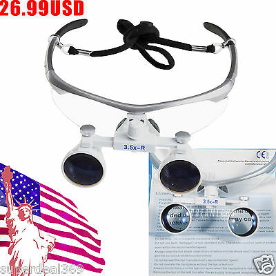 USA Dental Optical Surgical Binocular 3.5X Loupes Glasses Magnifier for lamp CH