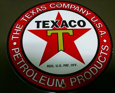 TEXACO Petroleum Products Gas Oil Porcelain advertising Sign ~9""