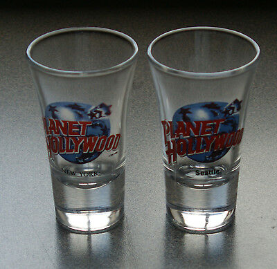 2 PLANET HOLLYWOOD Tall Shot Glasses NEW YORK & SEATTLE