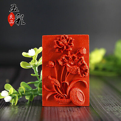 Natural Red Cinnabar Carving Lacquer Chinese Lotus Sculpture Pendant Necklace