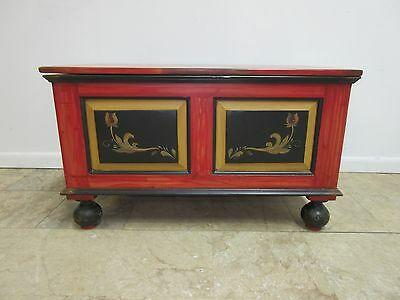 Antique Pennsylvania Dutch Paint Decorated Trunk Hope Chest ToolBox Reproduction