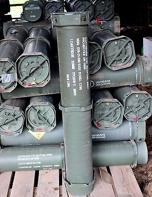 2 Ammo Ammunition Army Military Can Tube Container Metal 120 MM  44""