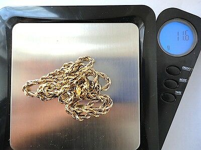 Vintage 14 Kt Yellow Solid Gold 11.6 Grams Rope Chain Lobster Clasp Wear / Scrap