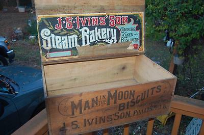 RARE Biscuits Wood Advertising Shipping Crate Man In The Moon j.S. Ivins PA Mass